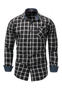 Camisa Masculina Xadrez Com Bolso Frontal Manga Longa - Preto