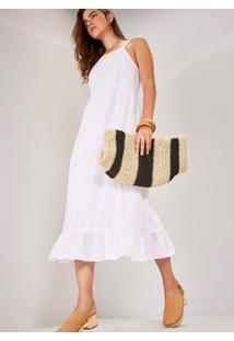Vestido Midi Voil Bolinhos Branco