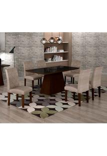 Conjunto De Mesa De Jantar Luna Com Vidro E 6 Cadeiras Ane I Suede Amassado Castor E Preto