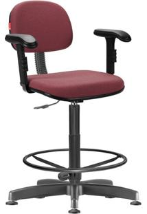 Cadeira Caixa Alta Vermelho Escuro Com Braços Secretária