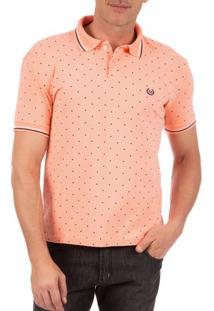 Camisa Polo Masculina Laranja Estampada - P