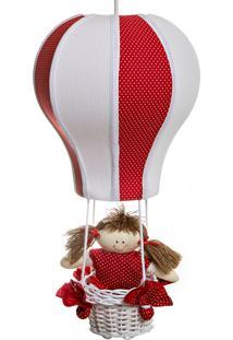 Lustre Balão Cintura Quarto Bebê Infantil Menina Potinho De Mel Vermelho - Kanui