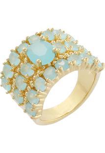 Anel Narcizza Semijoias Três Fileiras Azul Claro Leitoso Ouro