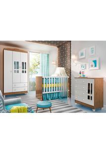 Dormitório Completo Bia -Carolina Baby - Branco / Amadeirado