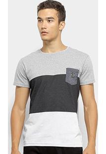 Camiseta Maquinetada Rg 518 Com Bolso Masculina - Masculino-Cinza+Branco