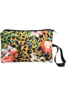 Necessaire Clássica Em Neoprene Tritengo - Onça Flamingos Floral - Feminino