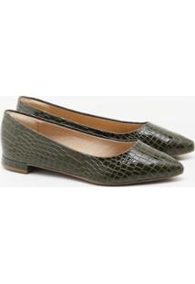 Sapatilha Charlote Shoes Croco Feminina - Feminino-Verde Escuro