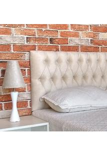 Cabeceira Capitone Vintage King Suede Bege 195 X 60