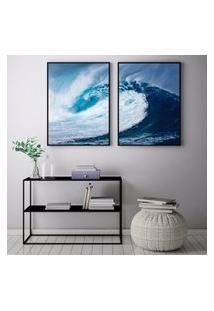 Quadro Oppen House 70X100Cm Ubatuba Sáo Paulo Ondas Surf Decorativo Interiores Sala De Estar Quartos Moldura Preta Com Vidro