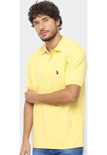 Camisa Polo U.S. Polo Assn Básica Lisa Masculina - Masculino-Amarelo