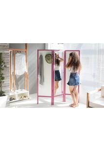 Biombo Com Espelho Em Mdf E Madeira Cabideiro Divisor De Ambientes Ammy Branco Com Lilás 138X165 Cm