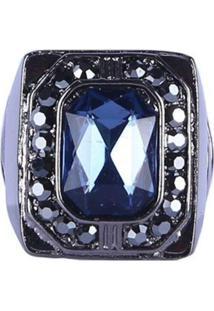 Anel Armazem Rr Bijoux Cristal Azul Escuro - Kanui