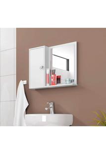 Espelheira Para Banheiro 1 Porta 2 Prateleiras Gênova Móveis Bechara Branco