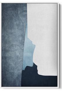 Quadro 60X40Cm Abstrato Textura Ireki Moldura Flutuante Filete Branca