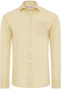 Camisa Masculina Frankie Linho - Amarelo