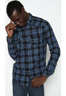 Camisa Slim Fit Xadrez - Azul Escuro & Pretacalvin Klein