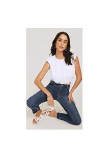 Calça Morena Rosa Cigarrete Giane Cós Intermediário Com Reserva Jeans