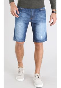 Bermuda Jeans Masculina Slim Com Puídos Azul Médio
