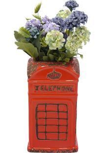 Vaso De Cerâmica Vermelho Cabine Londres Kasa Ideia