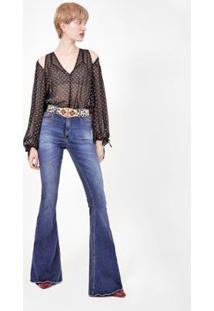 Calça Jeans Amapô Super Flare Elastano Livia Feminina - Feminino-Azul