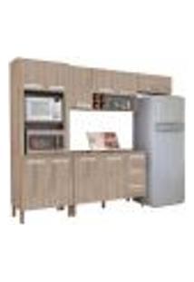Cozinha Compacta Ametista Com Balcão 10 Portas Composição 8 Nogal - Kit'S Paraná
