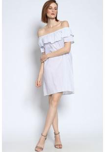 Vestido Ciganinha Com Babados- Branco & Lilás- Bhlbhl