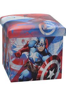 Puff Capitão América®- Vermelho & Azul- 40X38X38Cm