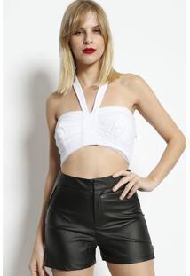 Blusa Cropped Frente Única Com Tule- Brancadimy