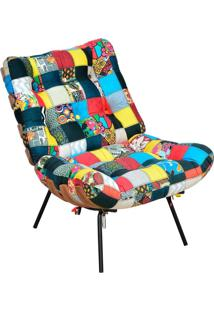 Poltrona Decorativa Sala De Estar Costela Patchwork - Lyam Decor - Multicolorido - Dafiti