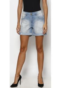 Bermuda Jeans Estonada Com Puídos- Azul Clarotuareg