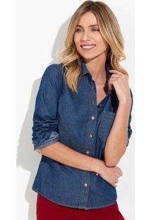 Camisa Jeans Feminina Com Bolso