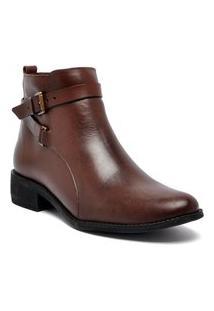 Bota Ankle Boot Via Paula Couro 04060-02909 Feminino Cacau Via Paula Marrom
