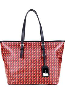 Bolsa Santa Lolla Shopper Cubos Feminina - Feminino-Vermelho