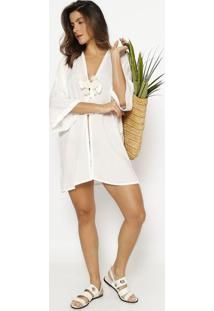 Kimono Liso Com Amarração - Branco & Off White - Patpatra