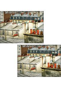 Jogo Americano Colours Creative Photo Decor - Vista Da Janela De Telhado Em Paris Na França - 2 Peças