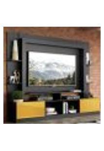 """Rack Estante Com Painel Tv 65"""" E 2 Portas Oslo Multimóveis Preto/Amarelo"""