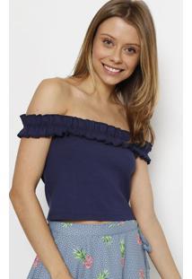 Blusa Cropped Ciganinha Canelada- Azul Marinhospezzato