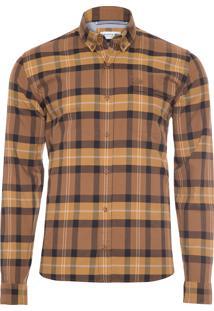 Camisa Masculina Xadrez - Marrom