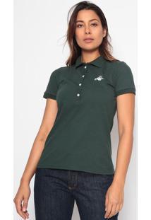Polo Lisa Com Bordado - Verde Escuro & Brancaclub Polo Collection