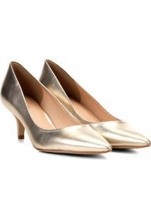 Scarpin Em Couro Metalizado- Dourado- Salto: 4Cmshoestock