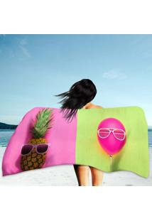 Toalha De Praia / Banho Pineapple And Pink Air Balloon