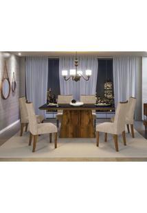 Sala De Jantar Mesa Itália Com Tampo De Madeira Chanfrado Com Vidro + 6 Cadeiras Golden - Dj Móveis