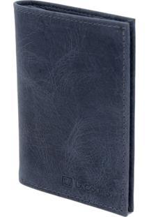 Carteira Compacta Lacouro Em Couro Fossil Azul Ref 3002