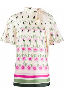 Valentino Blusa Com Estampa Floral E Amarração Na Gola - Branco