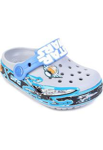 Sandália Infantil Crocs Lights Star Wars - Masculino-Cinza+Azul