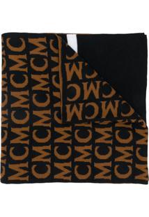 Mcm Cachecol De Tricô Com Logo - Marrom