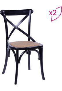 Jogo De Cadeiras Cross- Preto & Marrom- 2Pã§S- Oror Design