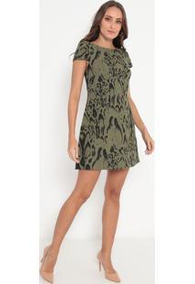 Vestido Texturizado Animal Print - Verde & Preto- Lalança Perfume