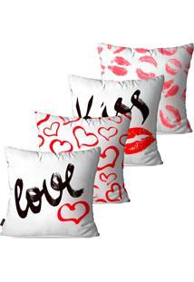 Kit Pump Up Com 4 Capas Para Almofadas Decorativas Branco Love Kiss 45X45Cm - Branco - Dafiti