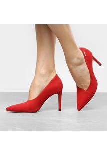 Scarpin Couro Dumond Salto Alto Recorte - Feminino-Vermelho